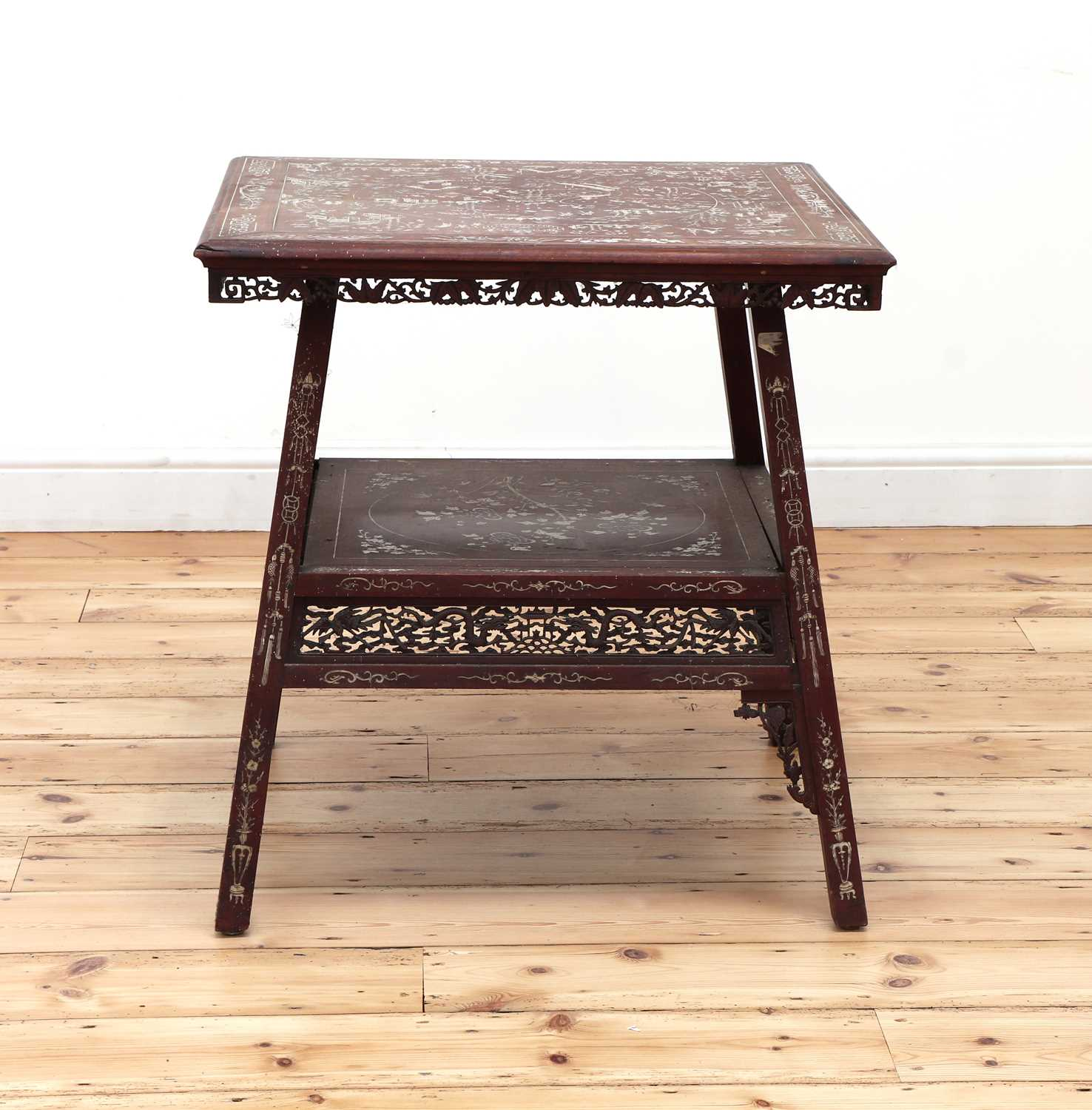 A Chinese hardwood and ivory inlaid occasional table, - Image 5 of 10