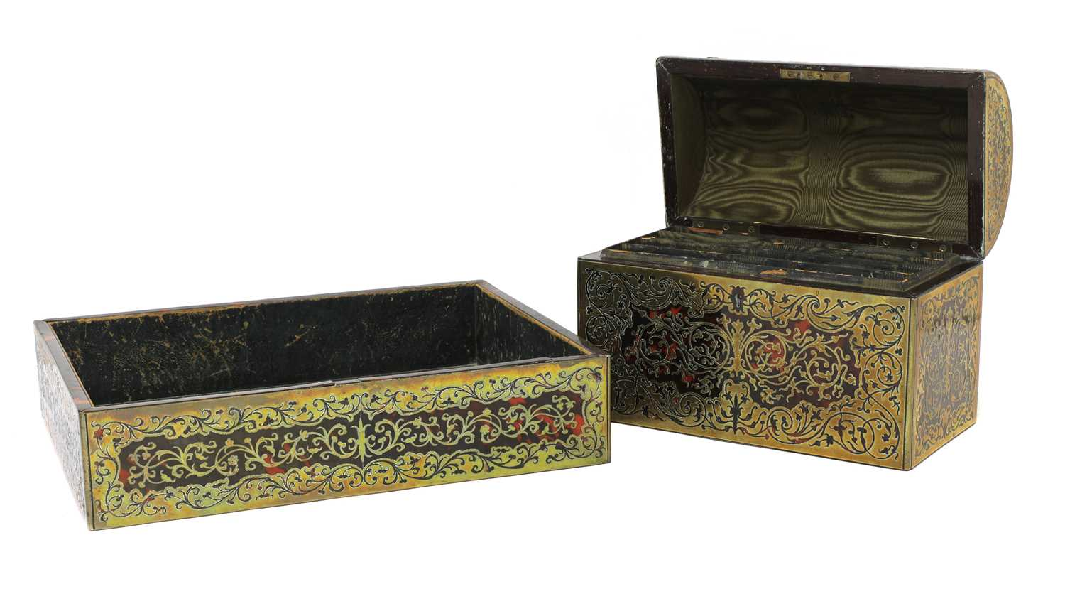 A boulle work desk box and tray, - Image 2 of 6