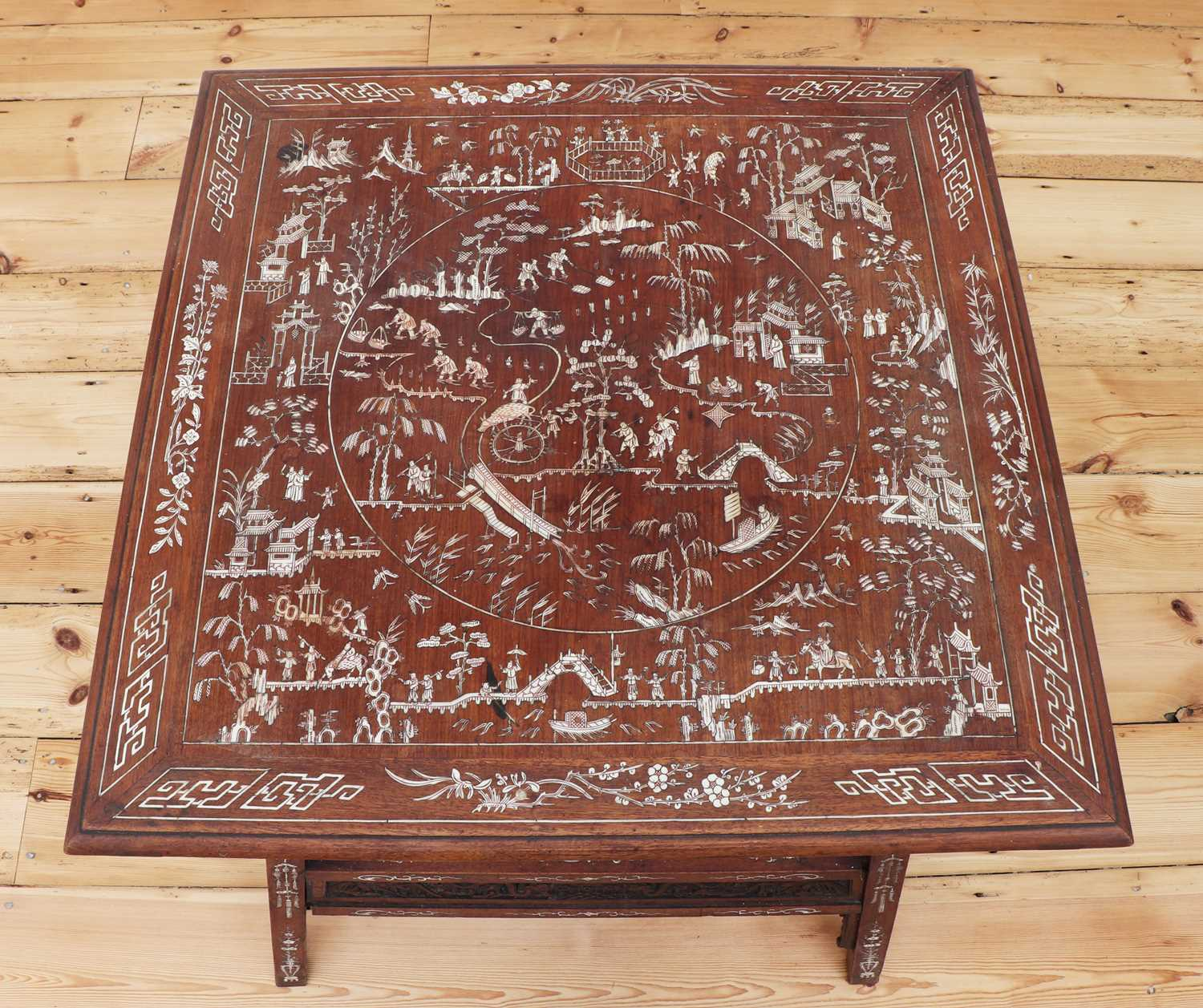 A Chinese hardwood and ivory inlaid occasional table, - Image 7 of 10