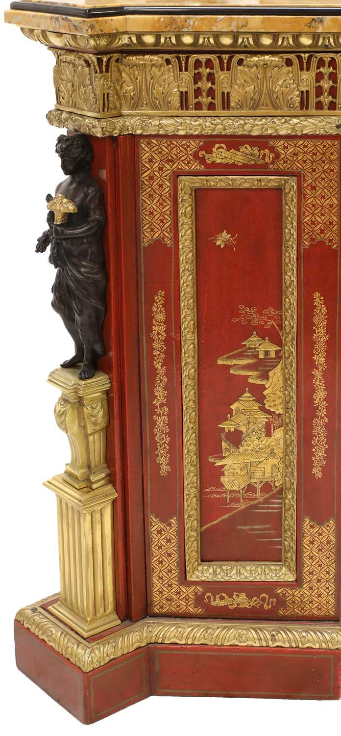 A red-lacquered and ormolu-mounted pier cabinet, - Image 3 of 16