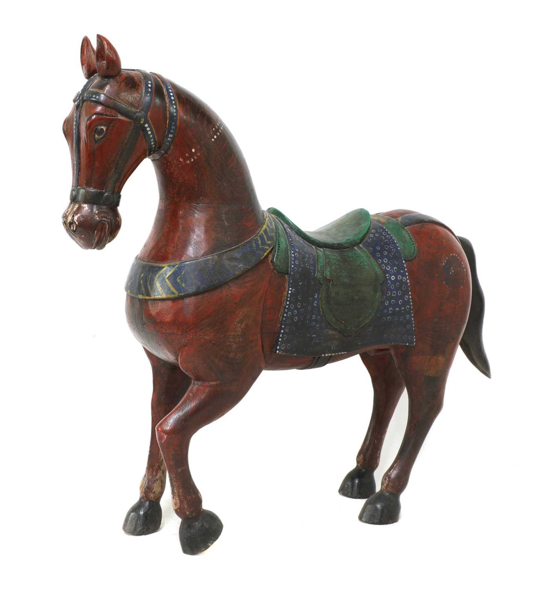 An Indian polychrome painted wooden horse, - Image 3 of 7