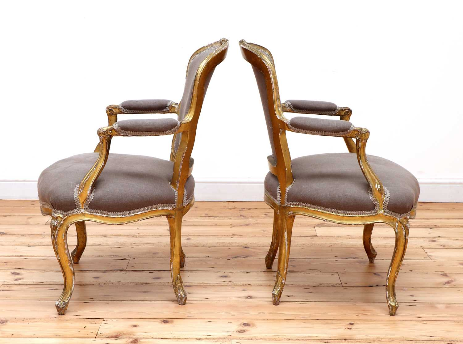 A pair of gilt-framed Louis XV-style armchairs, - Image 3 of 8