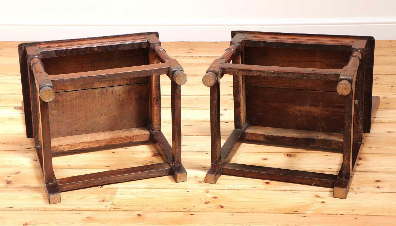 A pair of Charles II oak backstools, - Image 8 of 9