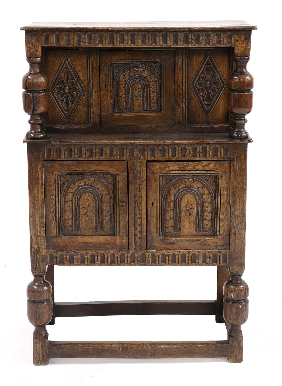 A small oak court cupboard,