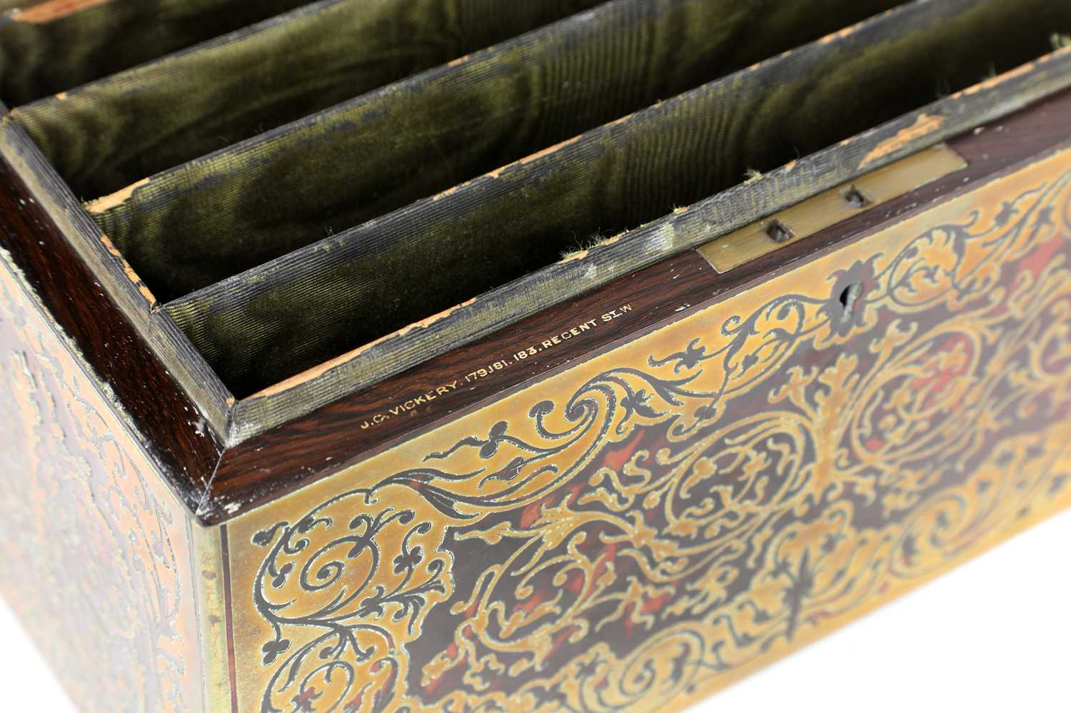 A boulle work desk box and tray, - Image 4 of 6
