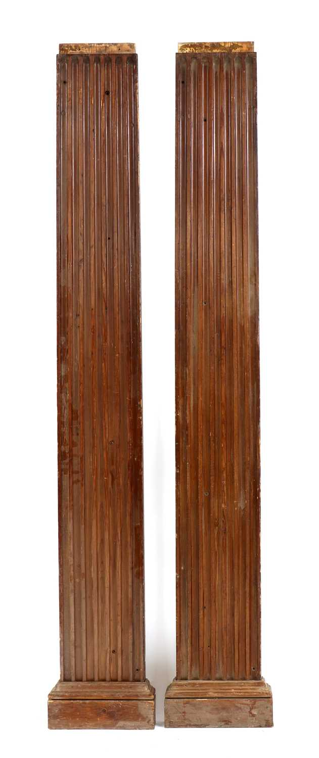 A pair of fluted pitch pine pilasters, - Image 2 of 10