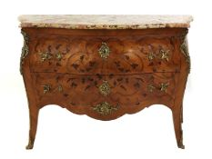 A French Louis XV kingwood, marquetry-inlaid and ormolu-mounted commode,
