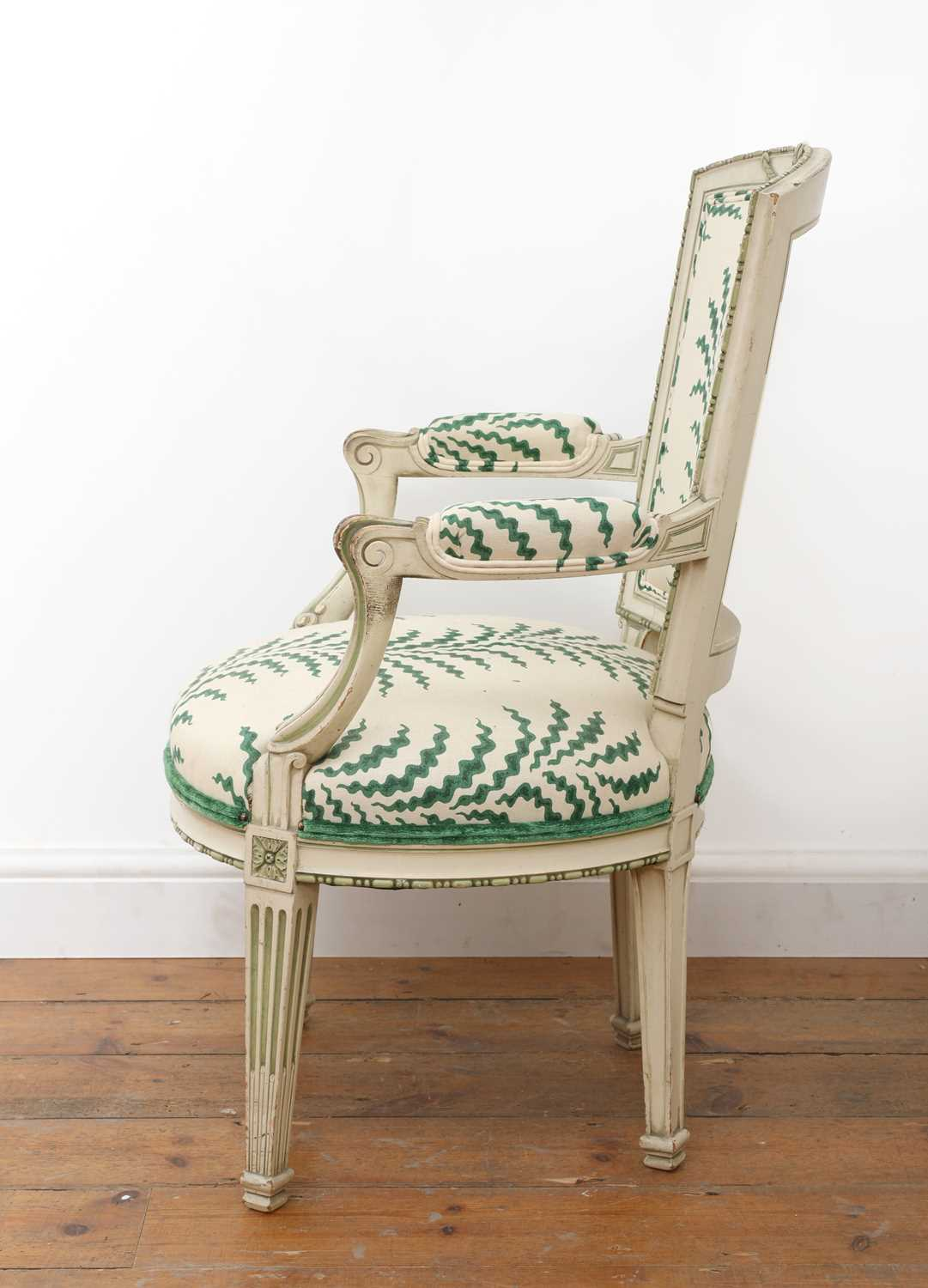 A French Louis XVI-style painted fauteuil, - Image 2 of 7