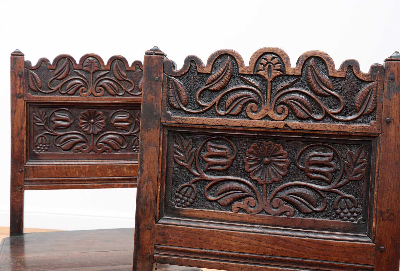 A pair of Charles II oak backstools, - Image 6 of 9
