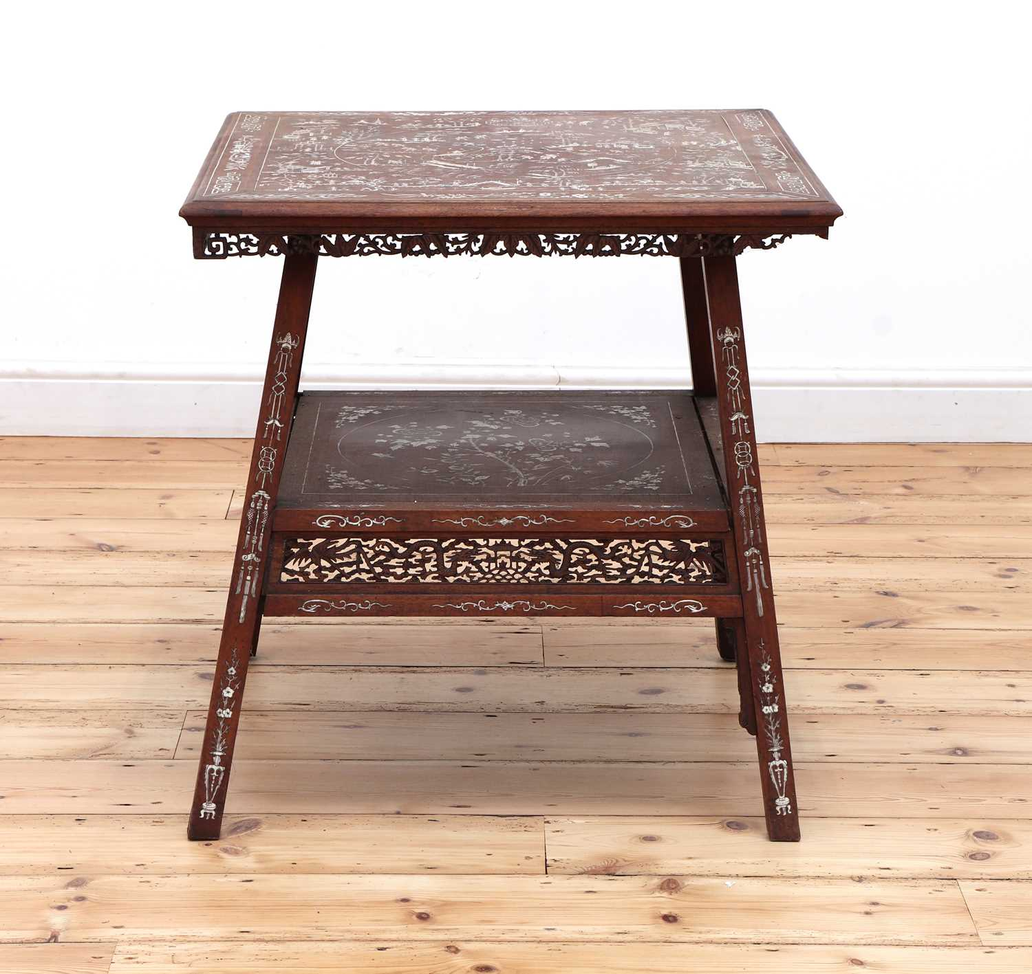 A Chinese hardwood and ivory inlaid occasional table, - Image 2 of 10