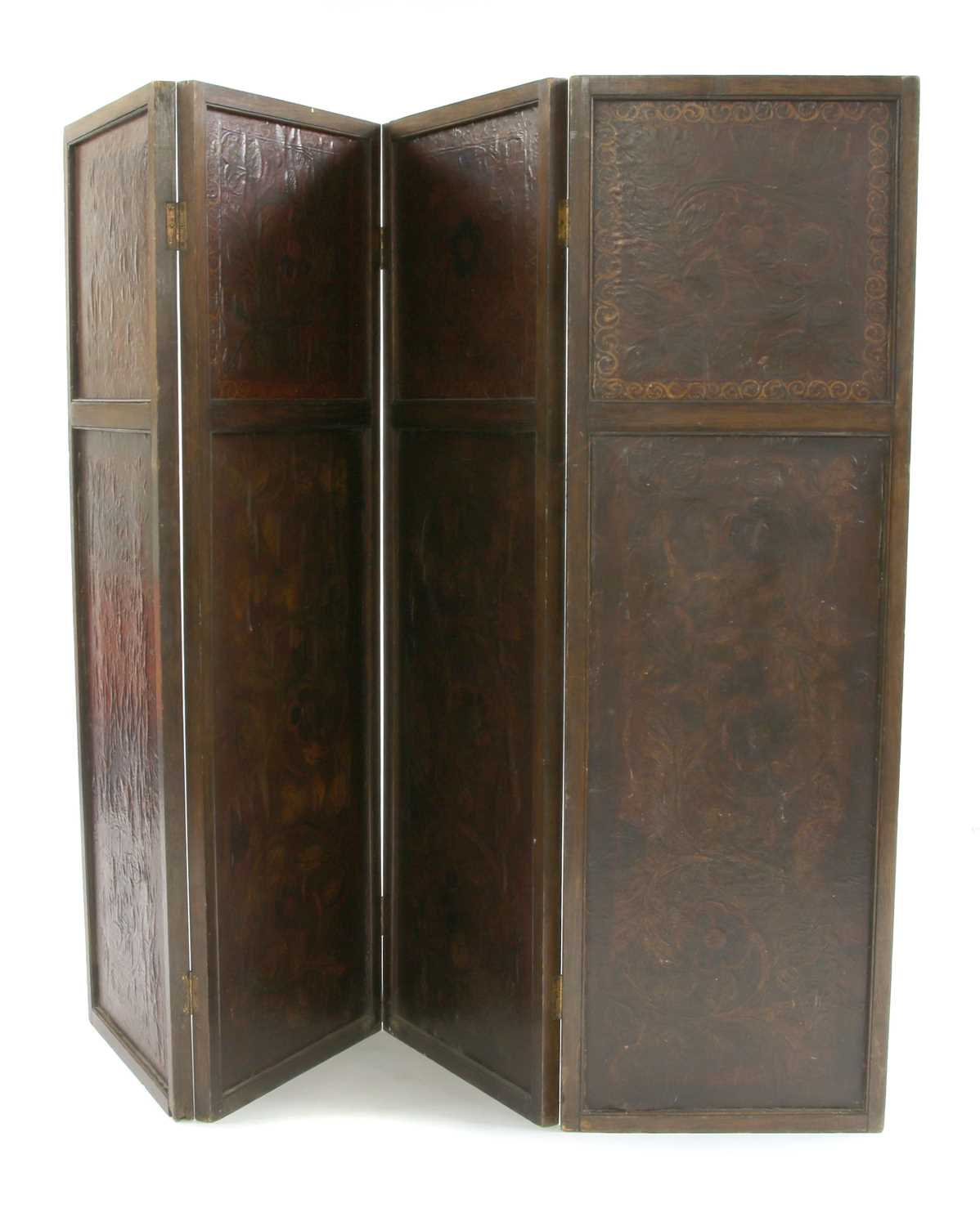 An oak and embossed leather four-fold screen, - Image 2 of 2
