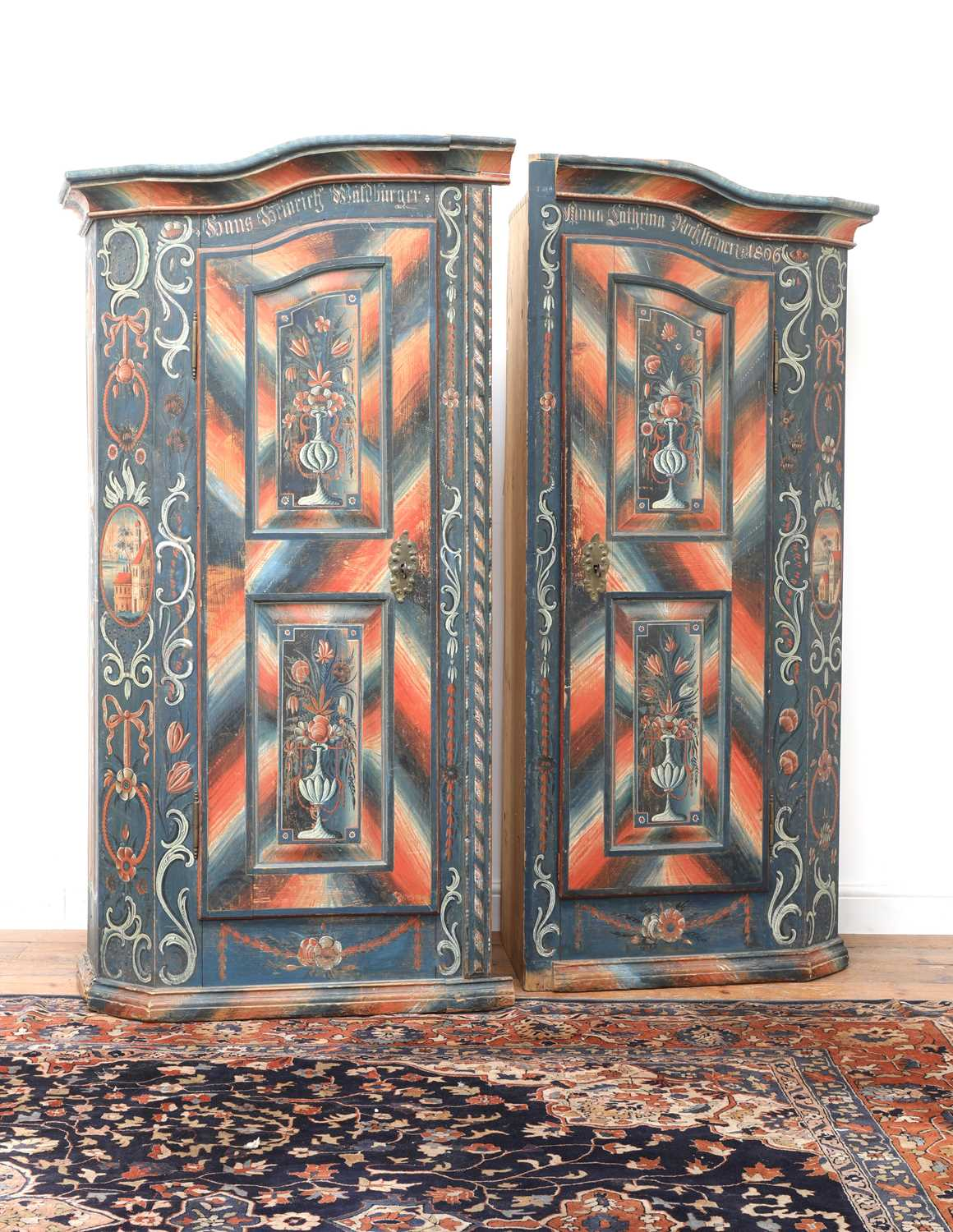 A Northern European painted pine armoire, - Image 3 of 10