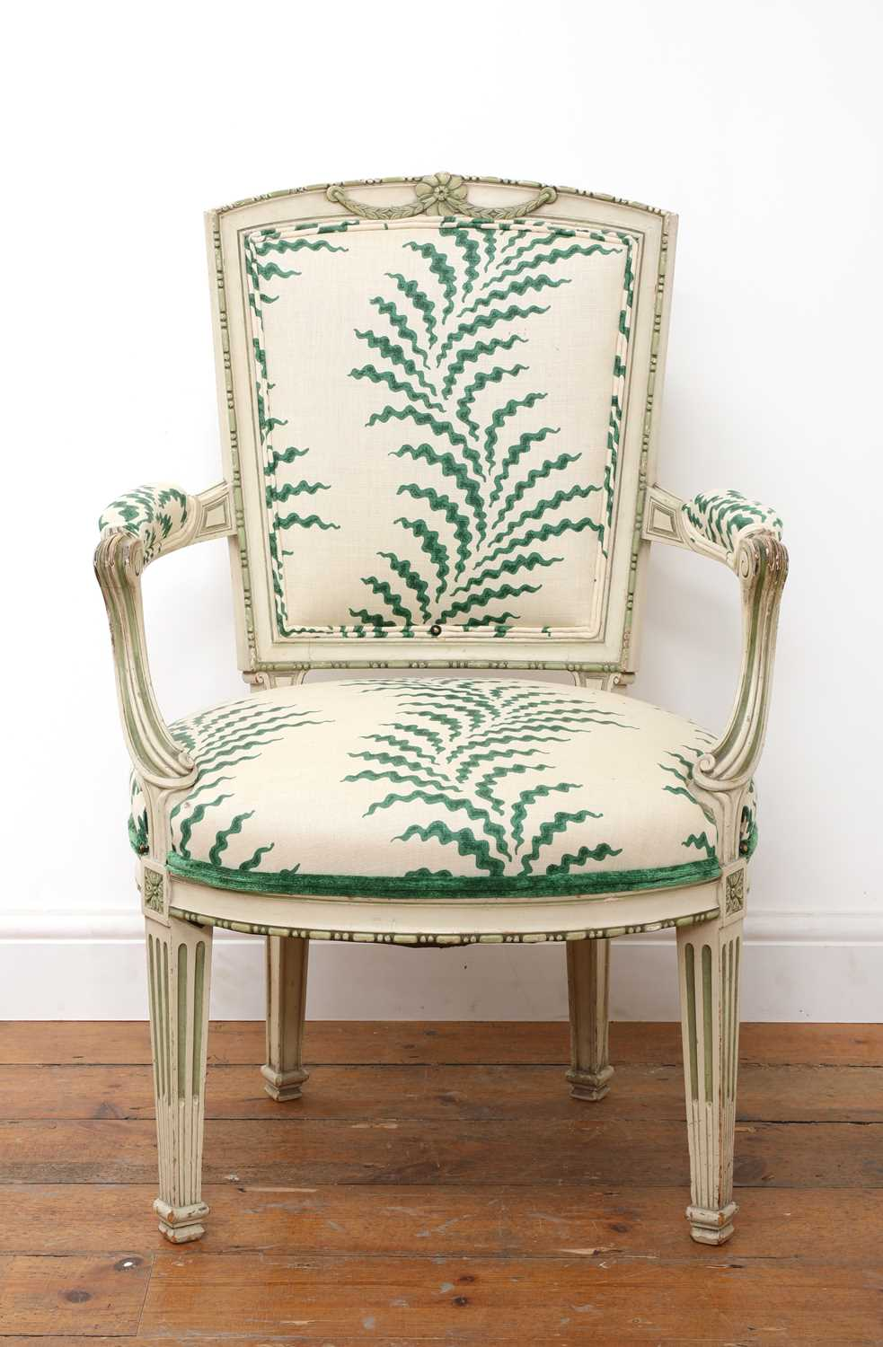 A French Louis XVI-style painted fauteuil,