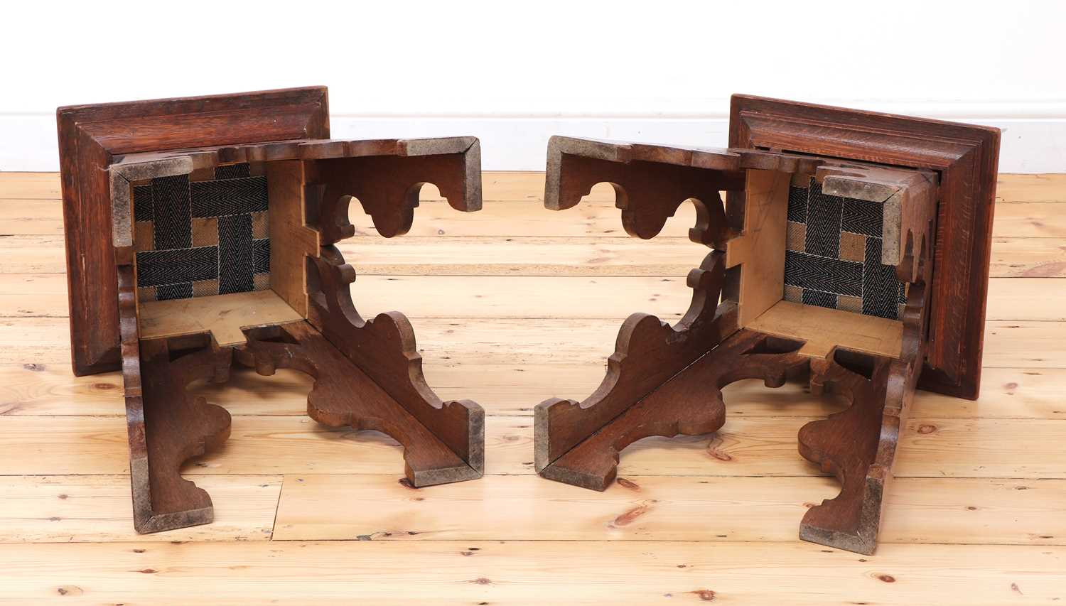 A pair of Liberty-style Arts and Crafts oak stools, - Image 4 of 4