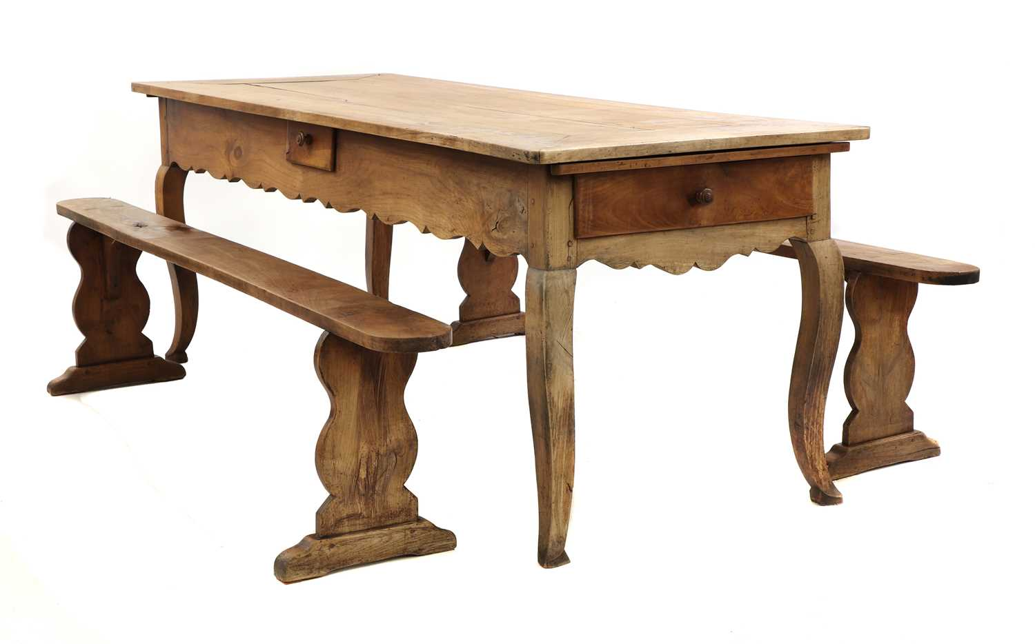 A French provincial sycamore kitchen table,