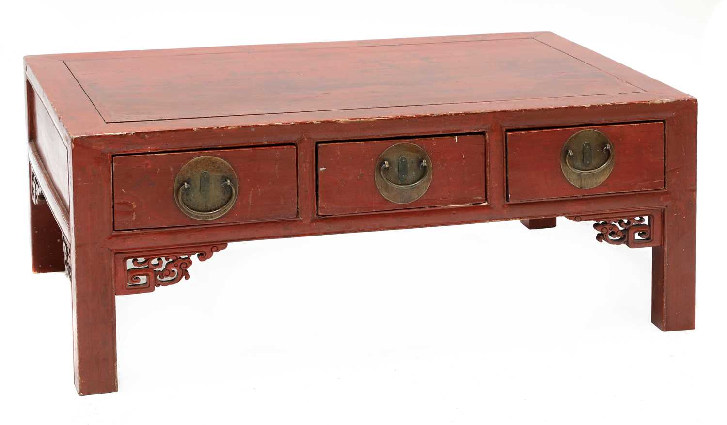 A Chinese low red-lacquered coffee table,