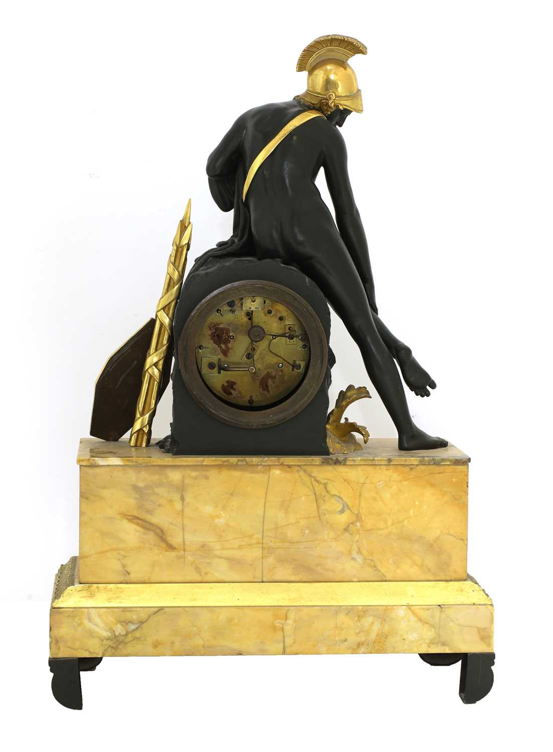 A French Empire patinated and gilt-bronze and Sienna marble mantel clock, - Image 4 of 7