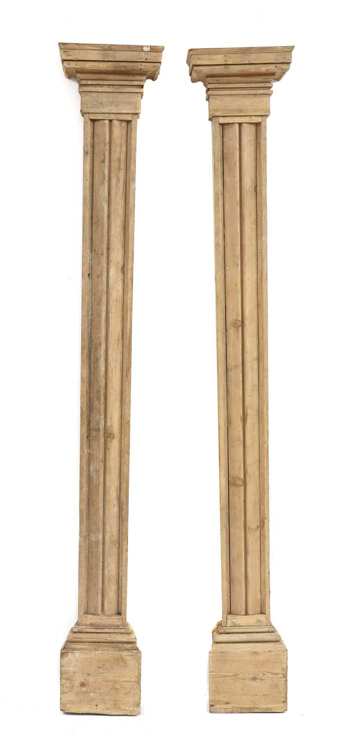 A pair of fluted pitch pine pilasters, - Image 8 of 10