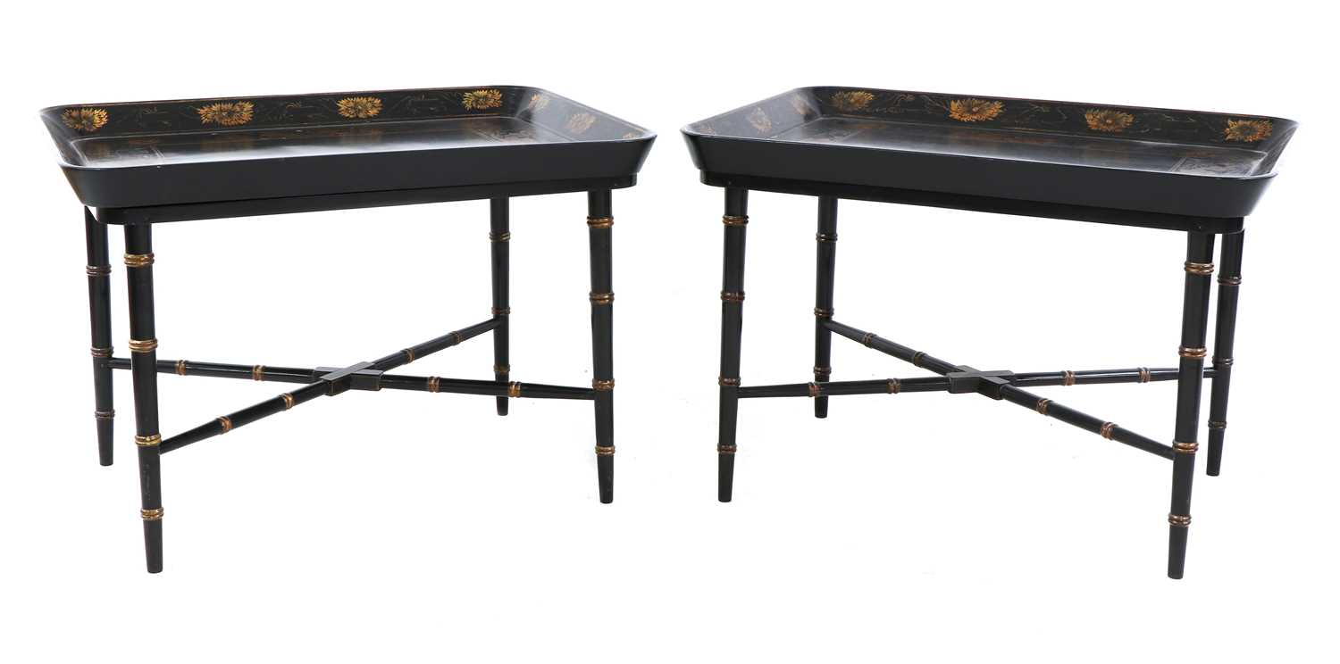 A pair of Regency-style papier mâché tray-top side tables, - Image 5 of 5