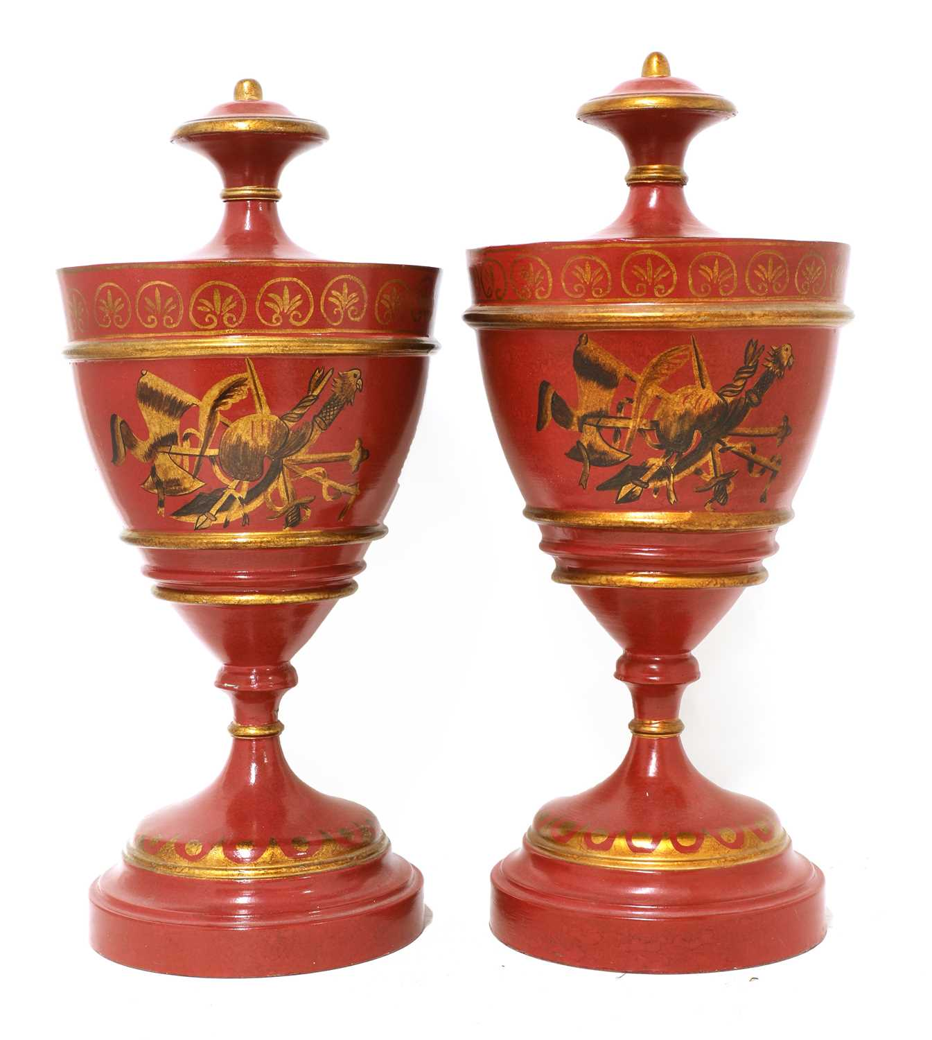 A pair of Regency-style toleware urns - Image 2 of 5