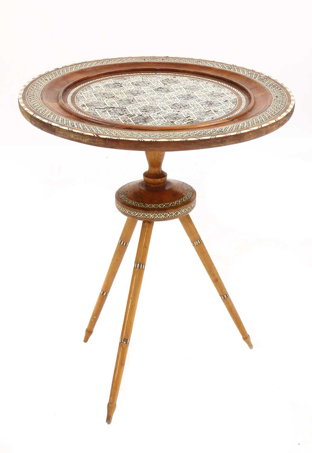 A Syrian inlaid occasional table, - Image 4 of 5
