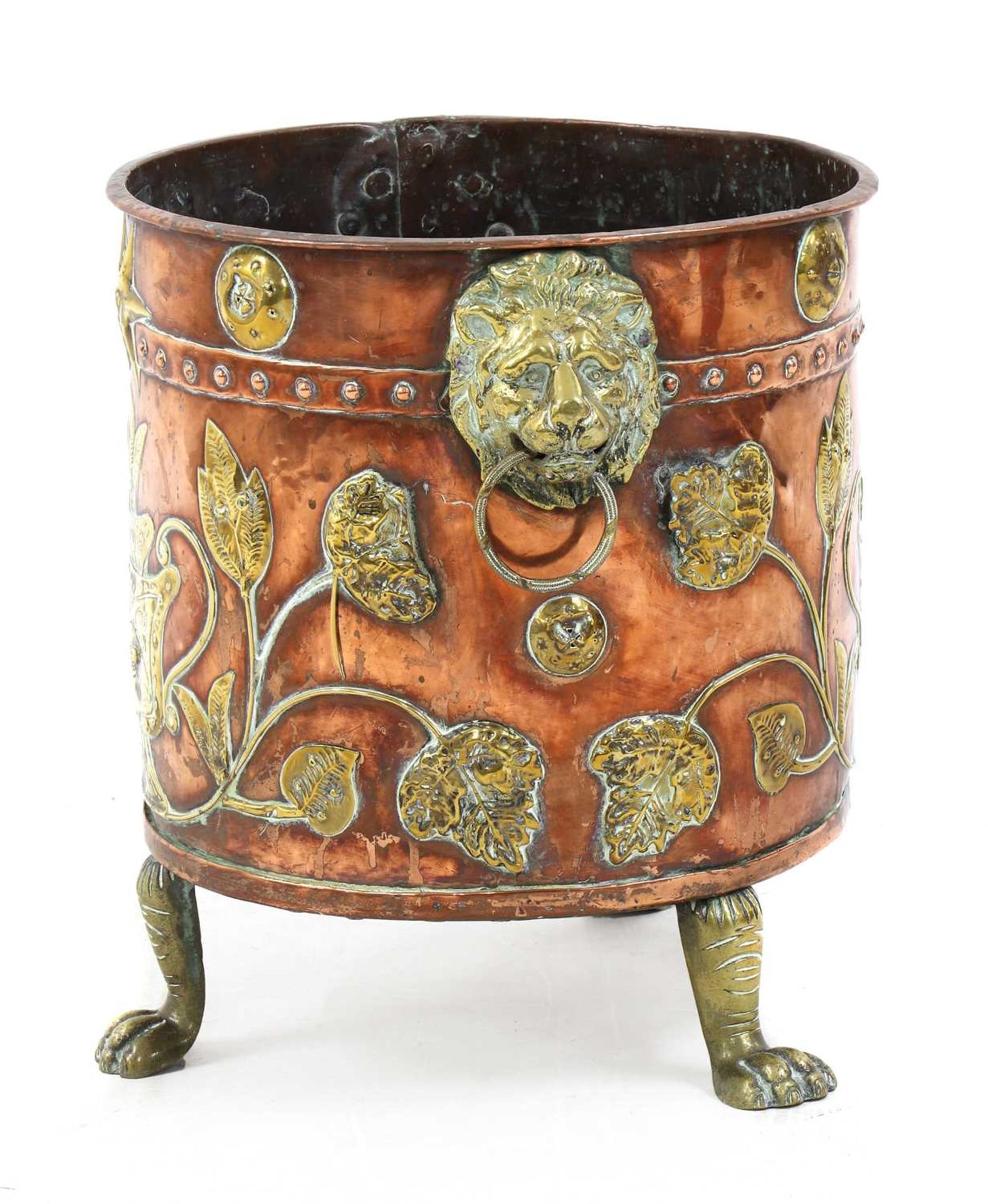 A copper and brass coal bucket, - Image 2 of 5