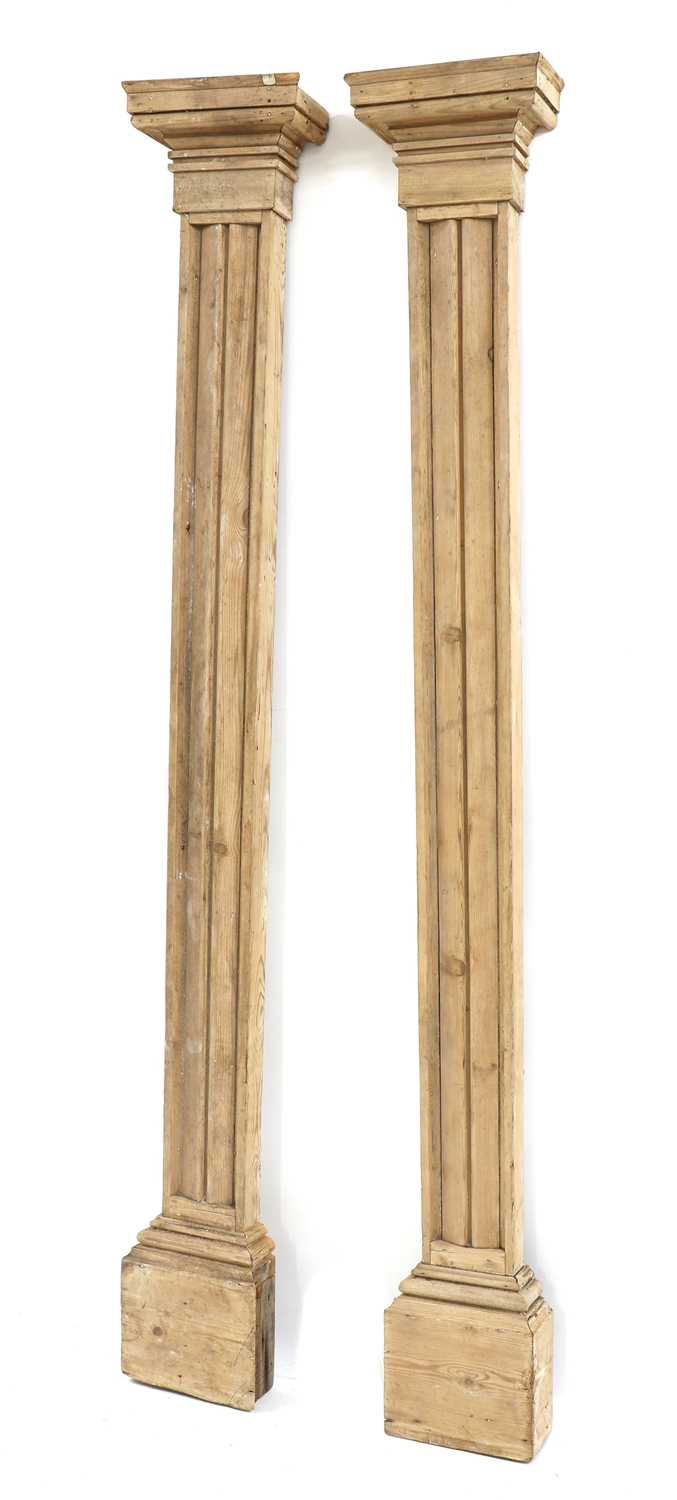 A pair of fluted pitch pine pilasters, - Image 9 of 10
