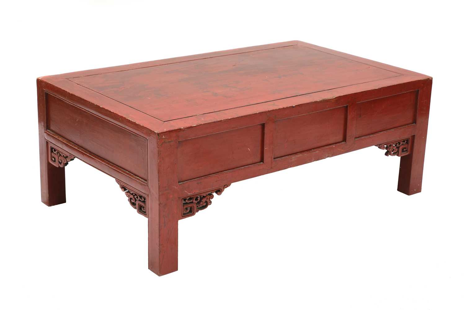 A Chinese low red-lacquered coffee table, - Image 3 of 3