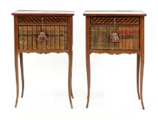 A pair of parquetry inlaid night tables,