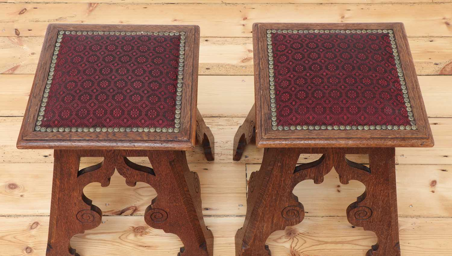 A pair of Liberty-style Arts and Crafts oak stools, - Image 3 of 4