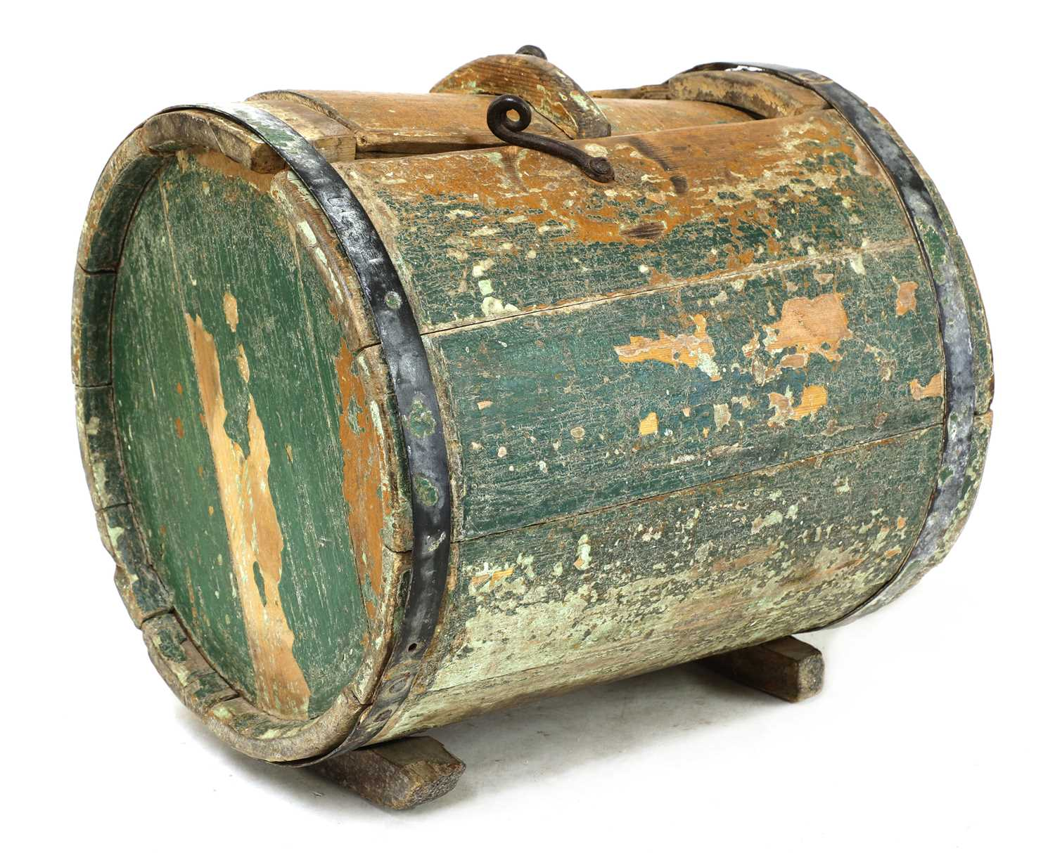 A Norwegian polychrome butter churn, - Image 2 of 9