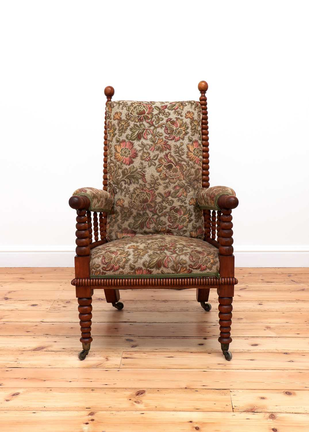 A Victorian fruitwood bobbin-turned library armchair, - Image 3 of 5