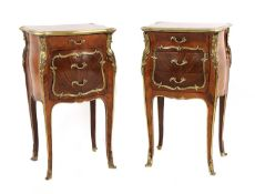 A pair of French Louis XV-style kingwood and ormolu night tables,