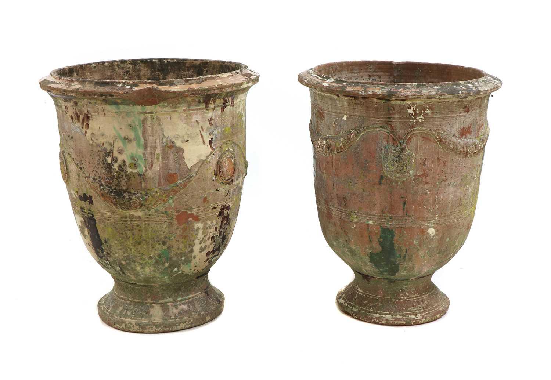 Two similar 'Poterie d'Anduze' glazed terracotta garden urns, - Image 2 of 3
