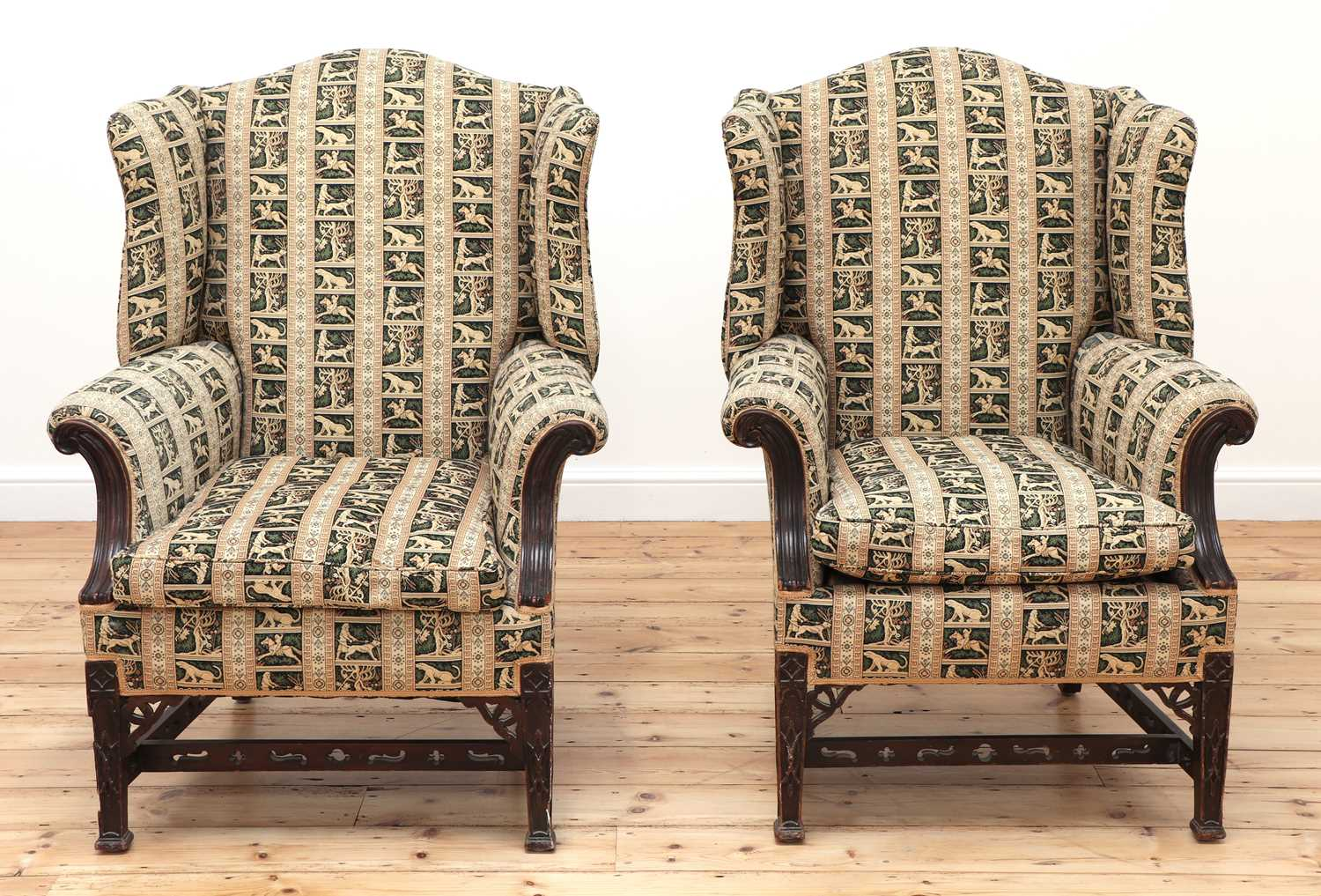 A pair of George III-style mahogany wingback armchairs - Image 2 of 6