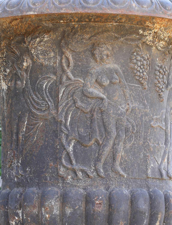 A cast iron campana garden urn, - Image 5 of 6