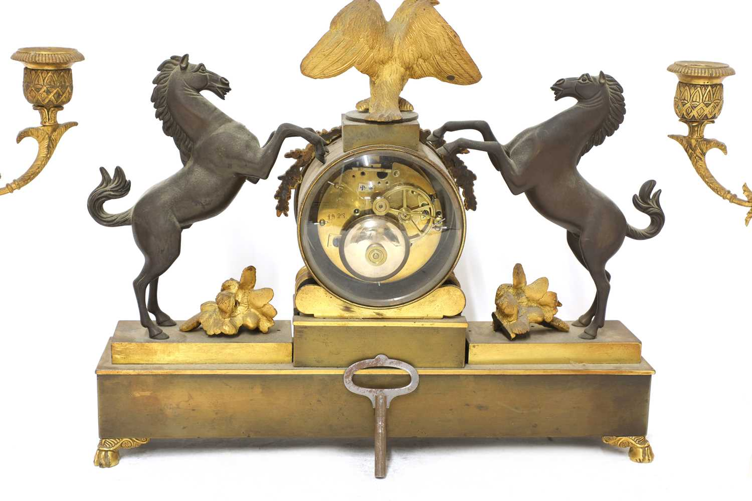 A French two-colour gilt-bronze three-piece clock garniture, - Image 3 of 4