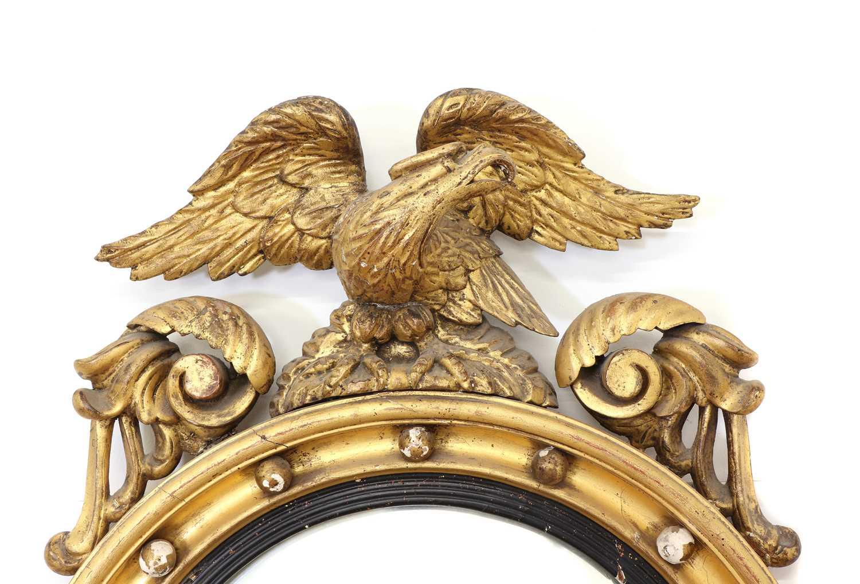 A Regency period circular gilt eagle wall mirror, - Image 2 of 4