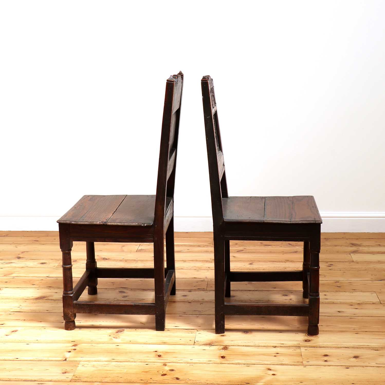 A pair of Charles II oak backstools, - Image 3 of 9