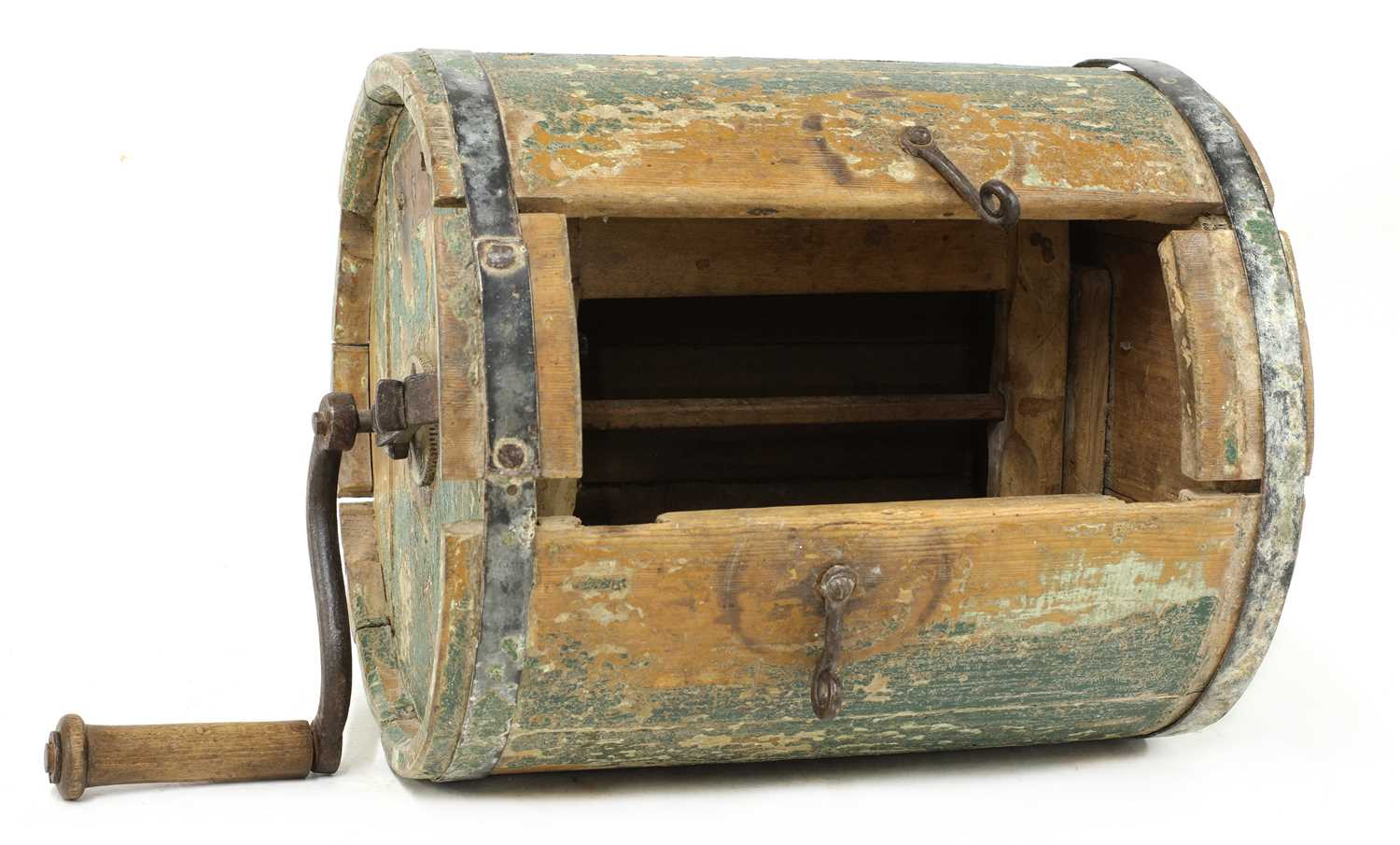 A Norwegian polychrome butter churn, - Image 4 of 9