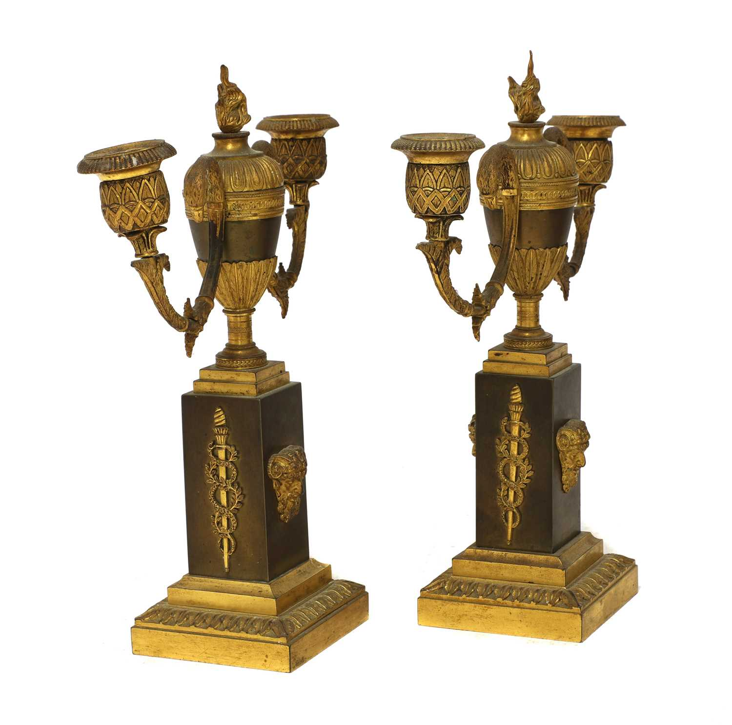 A French two-colour gilt-bronze three-piece clock garniture, - Image 4 of 4