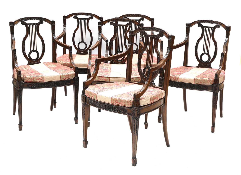 A set of six mahogany Sheraton Revival dining armchairs,