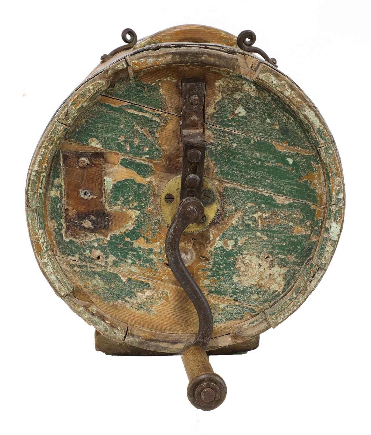 A Norwegian polychrome butter churn, - Image 3 of 9