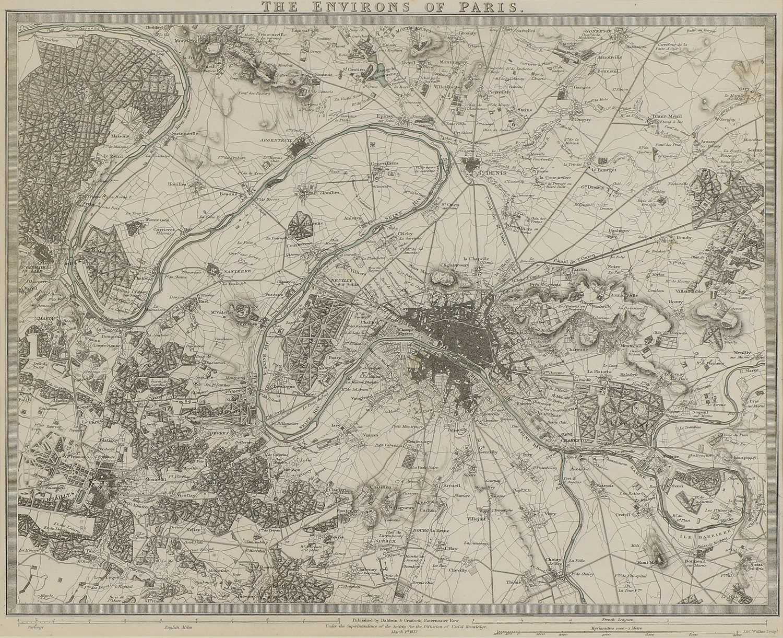 A set of four old maps of Paris, the Environs of Paris, Bordeaux and Toulon, - Image 4 of 25