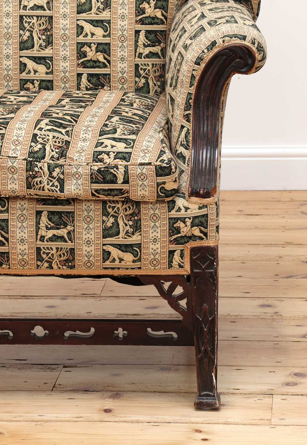 A pair of George III-style mahogany wingback armchairs - Image 5 of 6