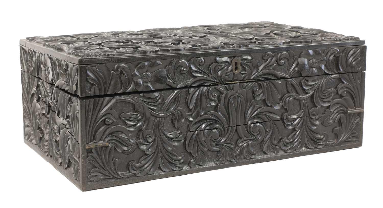 A Ceylonese ebony writing box,