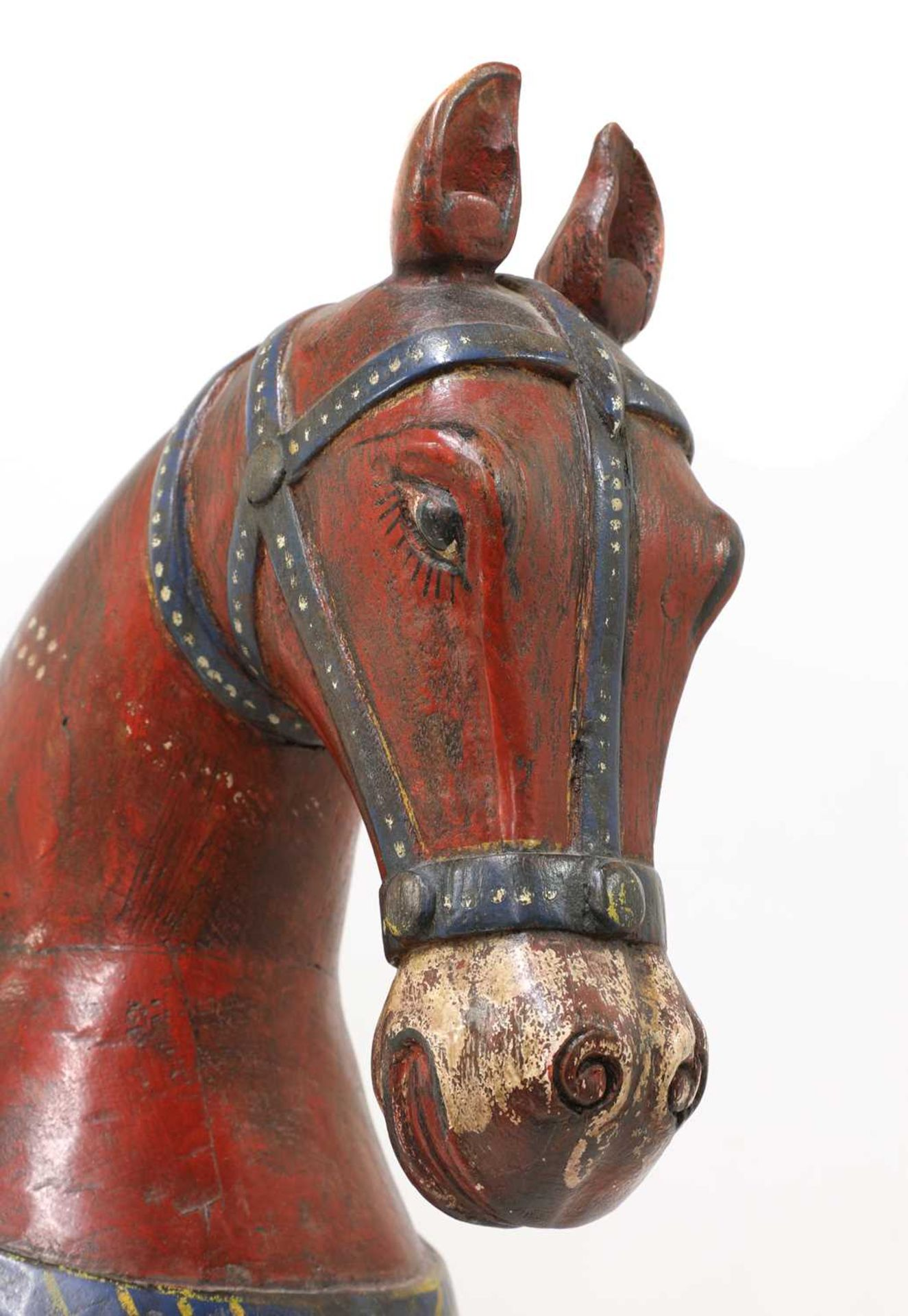 An Indian polychrome painted wooden horse, - Image 4 of 7
