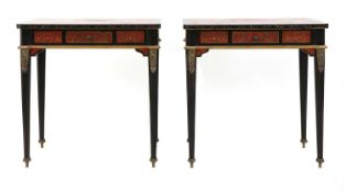 A pair of Napoleon III-style lacquered chinoiserie side tables,