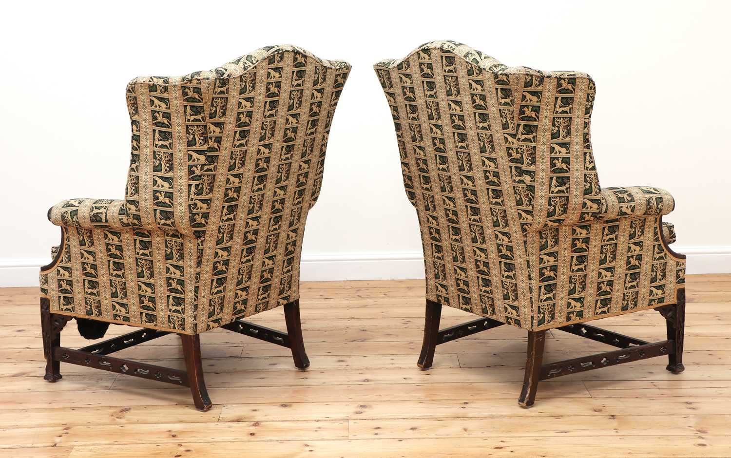 A pair of George III-style mahogany wingback armchairs - Image 4 of 6