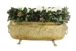 A pair of embossed brass wine coolers,